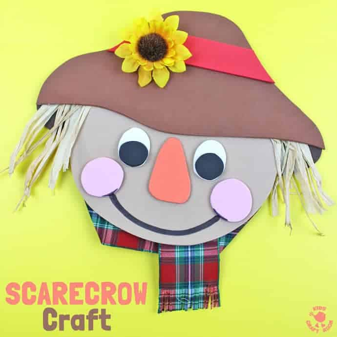 FOAM SCARECROW CRAFT - This cute foam scarecrow craft is great as a Fall craft or for harvest time and Thanksgiving. A free printable scarecrow template makes it super easy and fun to make. #scarecrow #scarecrowcrafts #springcrafts #fallcrafts #farmcrafts #scarecrow #kidscrafts #craftsforkids #kidscraftroom #autumncrafts #farmyard #farmyardcrafts