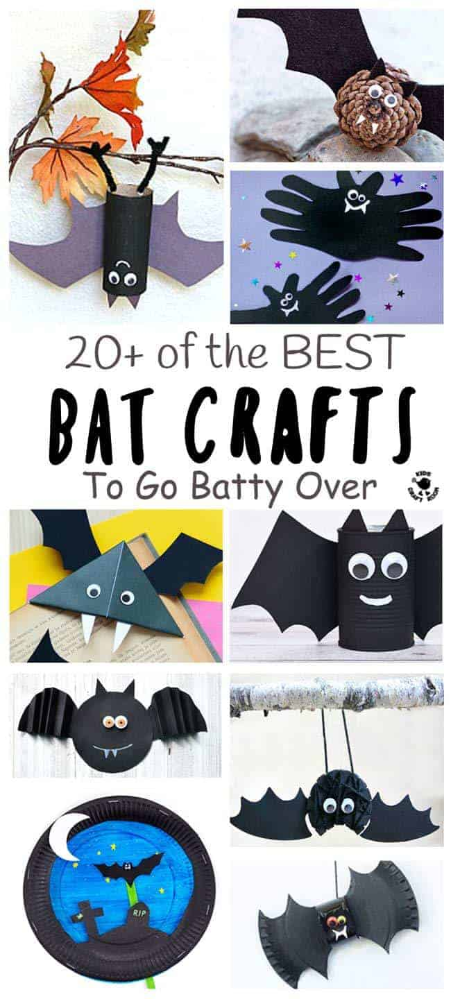 BEST BAT CRAFTS FOR KIDS - Here are 20+ best bat crafts to go totally batty over! Cute bats, paper plate bats, up-side-down bats, bat bookmarks, we've got them all and more! Great fun for Autumn, Winter and Halloween crafts. #bats #batcrafts #nocturnalcrafts #nocturnalanimals #animalcrafts #kidscrafts #craftsforkids #kidsactivities #activitiesforkids #kidscraftroom #letsgetcrafty #creativekids #halloween #halloweencrafts #night #nightcrafts #batcraftideas #kidscraftideas #wintercrafts