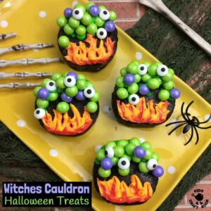 WITCHES CAULDRON HALLOWEEN TREATS will cast a delicious spell at your Halloween party! A tasty Halloween food and craft fusion everyone will like to make, eat and share. Cauldrons filled with bubbling witches potion and topped up with eyes of frog are fun spooky treats that will bewitch the whole family!