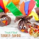 "CANDY-FILLED TURKEY FAVORS - stuff this cute turkey craft with everyone's favorite Fall candies and they'll be gobbled up before you can say ""Thanksgiving Treat""! Candy stuffed Turkey Favours are super simple and so much fun! Kids will love to make them and give them to their friends and they'll look super adorable in everyone's place setting for Thanksgiving dinner."