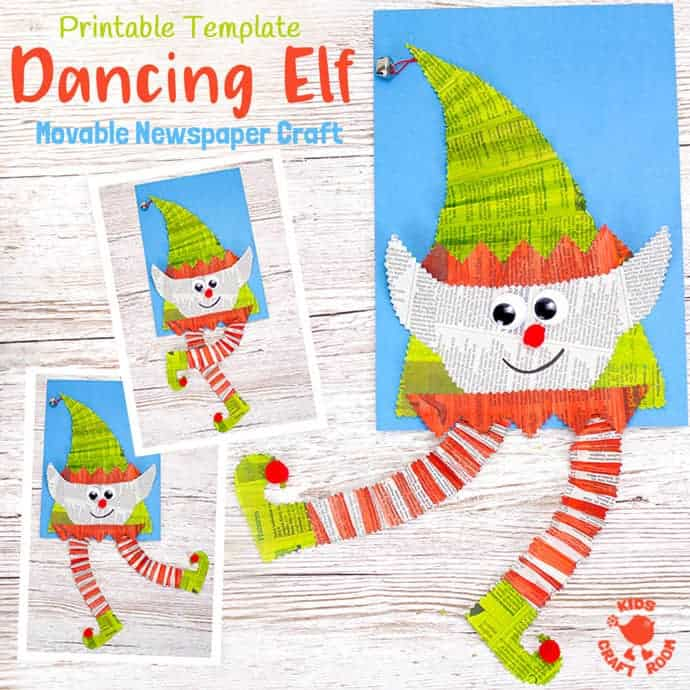 DANCING NEWSPAPER ELF CRAFT - Here's an adorable interactive Dancing Elf Craft the kids are going to love. Such a fun Christmas craft! Download the printable template and make an elf that not only looks cute but dances too! An easy and fun newspaper craft / recycled craft for the holidays.