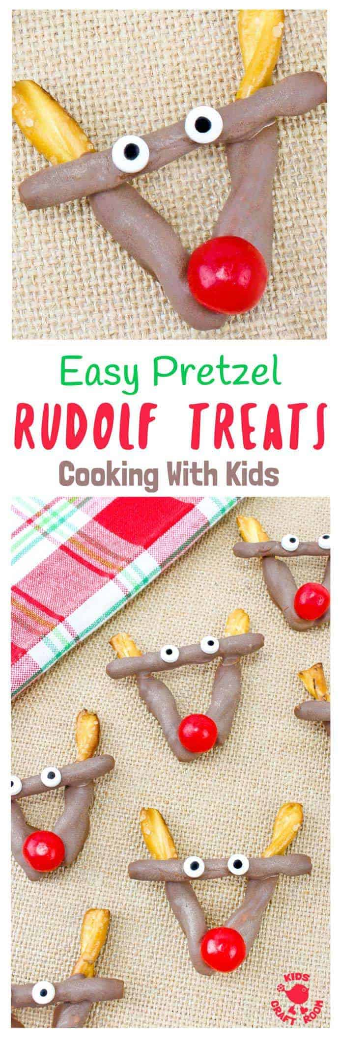 EASY PRETZEL REINDEER TREATS - Simple chocolate pretzel christmas treats melt hearts and tickle taste buds every time!  A festive Christmas recipe for cooking with kids. Great for Christmas parties and bake sales, play dates or to share with classmates and teachers for an end of term festive treat. Who can resist the charms of Rudolf The Red Nosed Reindeer? I know we can't!