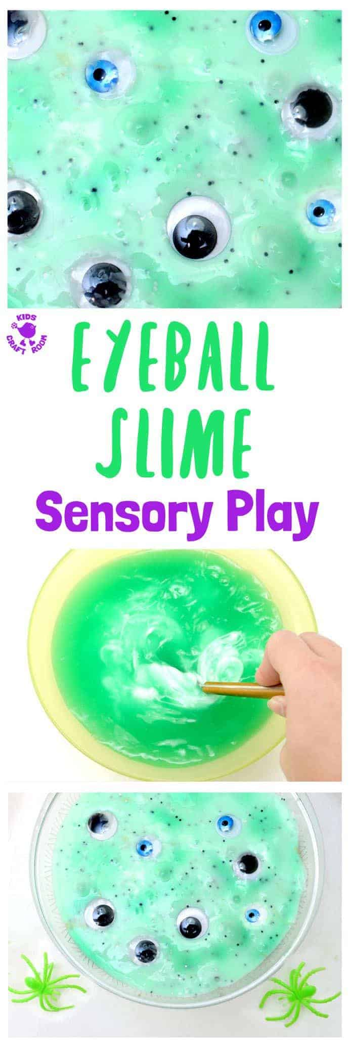 EERIE EYEBALL SLIME SENSORY PLAY - Are your kids brave enough for this Eyeball Slime sensory play activity? It's green, gooey, slimy, and gruesome! A fun Halloween sensory play idea for bold kids!