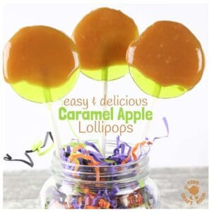 CARAMEL APPLE LOLLIPOPS - Fun and easy to make these homemade suckers are a delicious Fall treat the whole family will enjoy and a fun Fall recipe for cooking with kids. Creamy caramel and tangy apple fuse together in a bite sized, suck sized, lick of lusciousness!