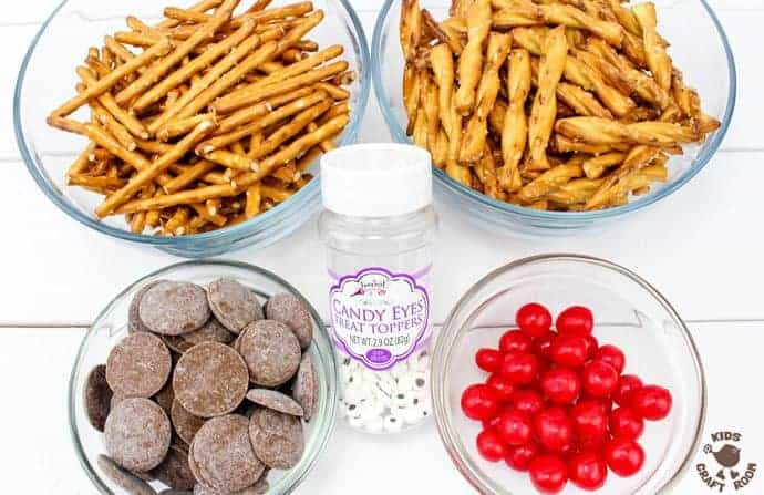 Ingredients to make Easy Chocolate Pretzel Reindeer Treats