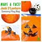 Make-A-Face Jack O'Lantern Sensory Play Bag - a fun mess free Halloween and Autumn sensory play idea kids will love. A great way to engage the senses and help kids learn and play. Squash and squish the sensory bag to move the Jack O'Lantern's face pieces around. Can you get everything in the right place? Can you make him look silly? Can you turn his face up-side-down? Sensory play ideas are such fun!