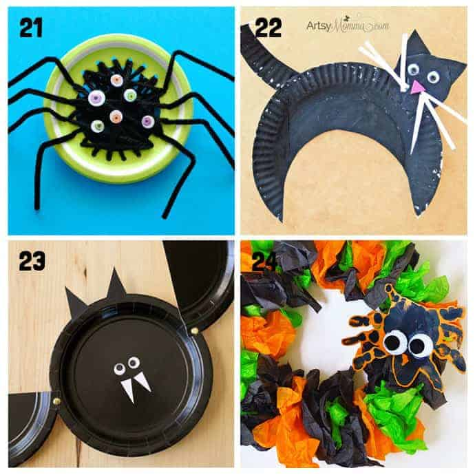 21-24 Paper Plate Halloween Crafts