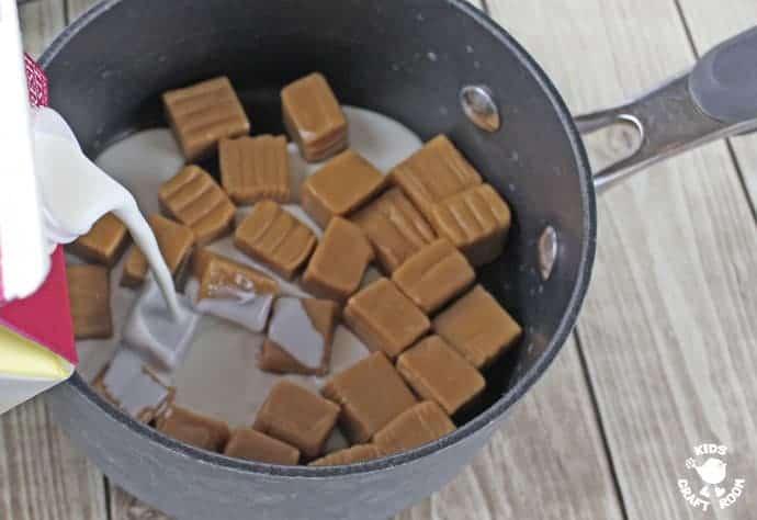 Step 4 making caramel for caramel apple suckers