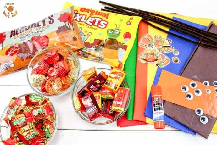 Supplies for candy-filled turkey favors
