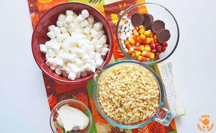 Supplies for Turkey Rice Krispie Treats
