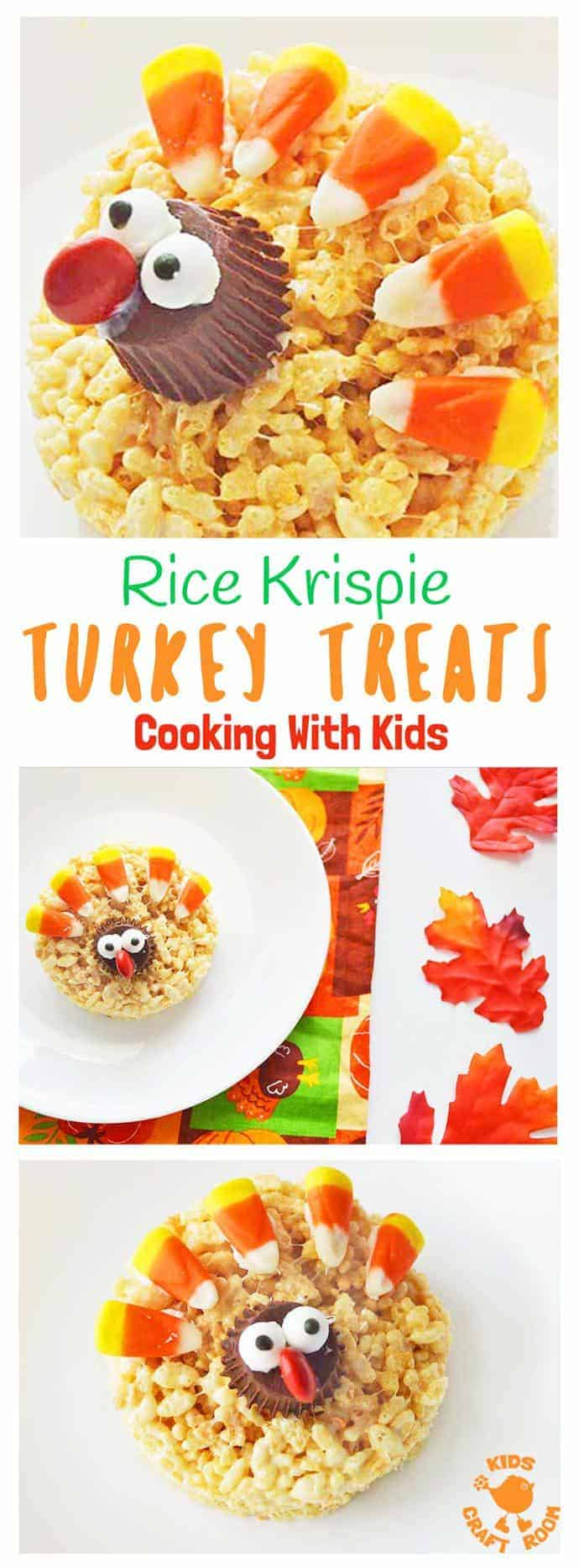 RICE KRISPIE TURKEY TREATS - a simple and fun Thanksgiving recipe that's great for cooking with kids. Easy and delicious this is a Thanksgiving treat the whole family will enjoy.