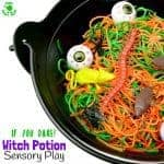 WITCH'S POTION HALLOWEEN SENSORY PLAY IDEA - Have you got a little witch or wizard with a love for the YUK? Kids will be spellbound getting hands on with this fun Witch's Potion Halloween Sensory Play Activity!