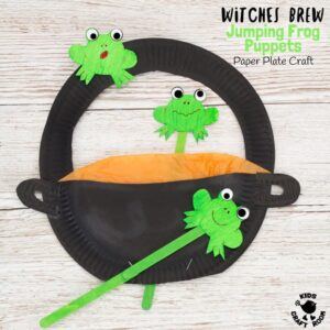 FROG PUPPETS IN A WITCH'S BREW PAPER PLATE CRAFT - a fantastic kids craft to encourage imaginative play and story telling. Play with this puppet craft and help the frogs escape from the Wicked Witch's potion! A fun Halloween craft or for Harry Potter fans all year round. (free printable template)