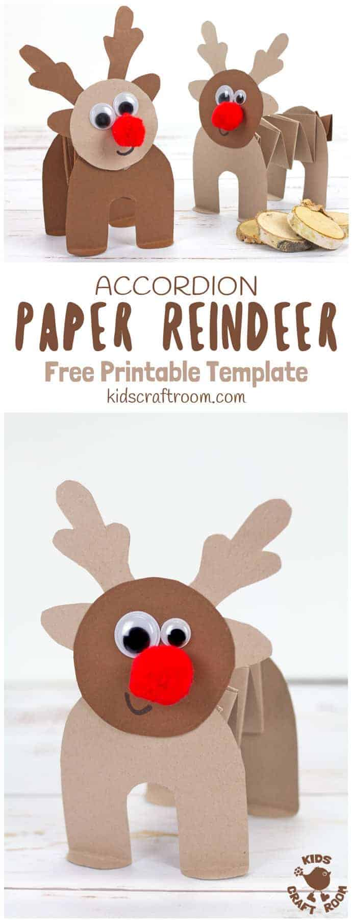 image about Pin the Nose on the Reindeer Printable titled Printable Accordion Paper Reindeer Craft - Youngsters Craft House