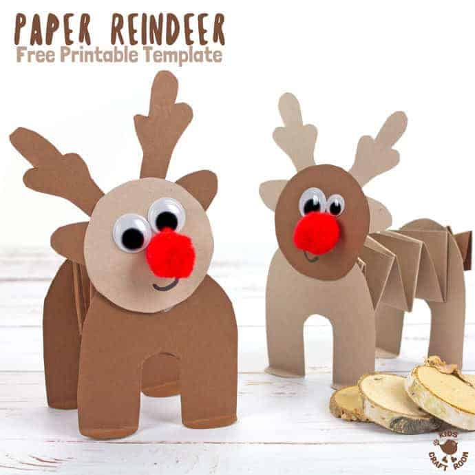 PRINTABLE ACCORDION PAPER REINDEER CRAFT - here's a fun printable reindeer kids can play with. This homemade paper reindeer toy has a simple but cleverly folded body that allows it to stand up and be walked along by little hands. The accordion folds work like a spring so the paper reindeer can bounce up and down on their bottoms! So much fun! A free printable reindeer craft. #reindeer #christmas #rudolf #papercrafts #printablecrafts #printables #kidscrafts #christmascrafts