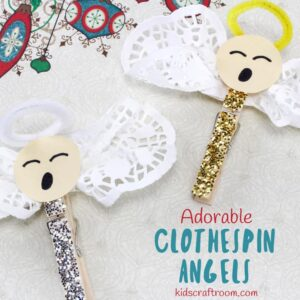 ADORABLE CLOTHESPIN ANGEL CRAFT - Looking for an easy five minute Christmas craft idea for kids? This Adorable Clothespin Angel Craft is super simple and very cute!  You can clip these homemade angels onto your Christmas tree, gift ties or around the house. This clothespin craft is fun to make and the little homemade angels are sure to delight everyone that sees them. #angel #angels #angelcraft #christmas #christmascrafts #clothespin #clothespincrafts #kidscrafts #homemadeangel #kidscraftroom #doily #doilycrafts #ornaments