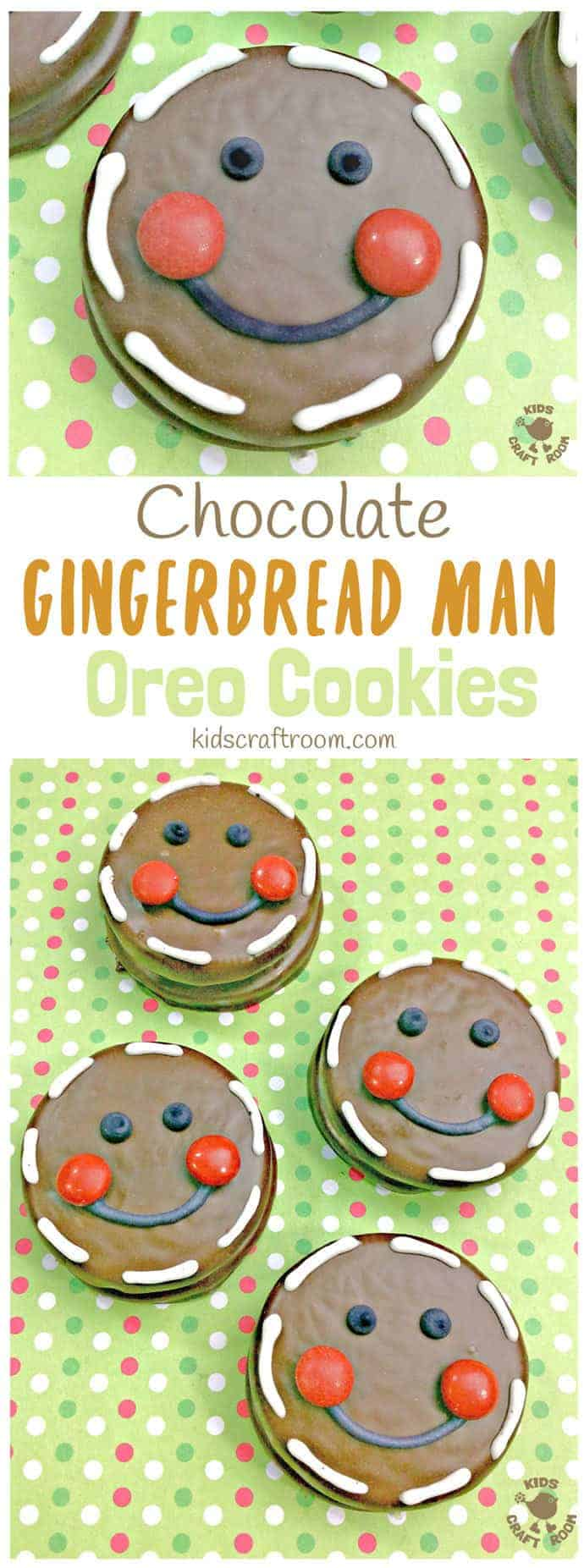 CHOCOLATE GINGERBREAD MAN OREO COOKIES - Fun Christmas treats for cooking with kids. This is an easy Christmas recipe with an Oreo base the whole family will enjoy. #christmas #christmasrecipes #cookingwithkids #kidsrecipes #oreo #gingerbreadman #gingerbread #christmastreats #christmascookies #cookies #kidscraftroom