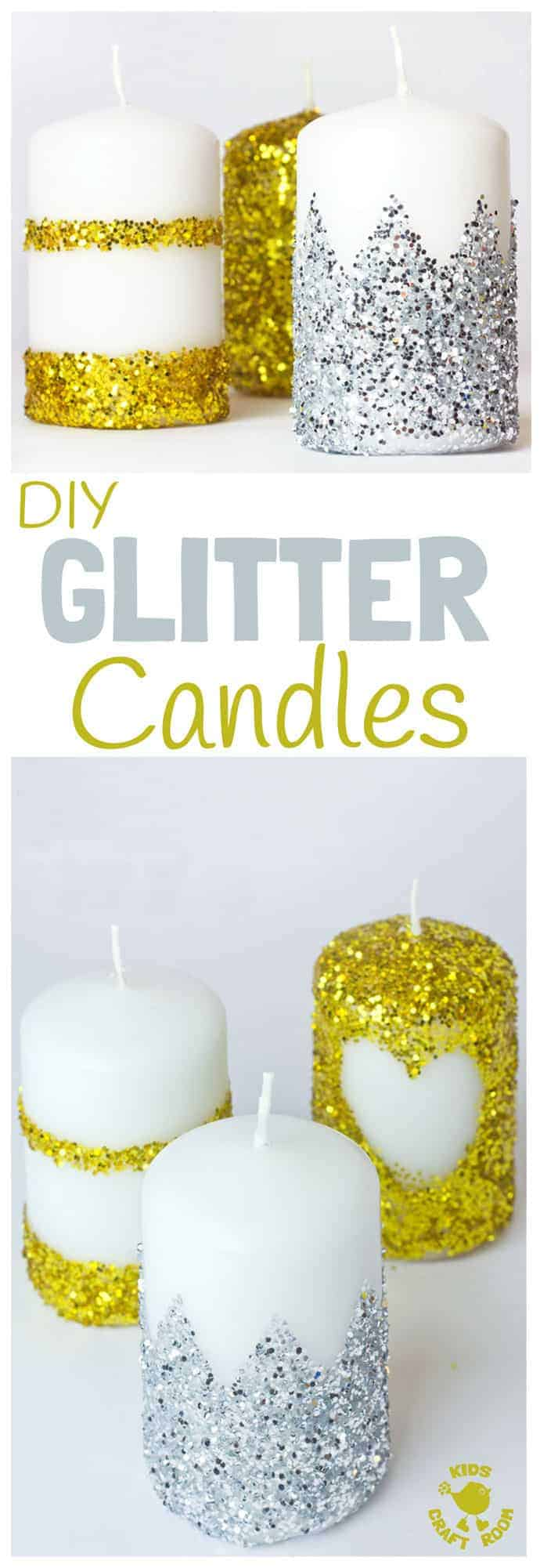GORGEOUS DIY GLITTER CANDLES- Have you wondered how to make glitter candles? These homemade candles are easy enough for kids to make. They look so pretty and make great gifts too. Fantastic for Christmas or New Year's Eve Ornaments. #christmas #newyearseve #candles #diy #giftideas #kidscrafts #christmascrafts #newyearcrafts #homemadecandles #glitter #homemade #kidscraftroom #ornaments