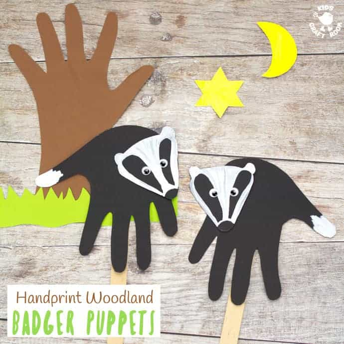 HANDPRINT BADGER PUPPETS are simple to make and a lot of fun. A handprint puppet craft to go with your favourite woodland animals story book or for imaginative play. #handprintcraft #forestcraft #woodlandcraft #puppetcraft #badger #kidscrafts #kidscraftroom #puppets