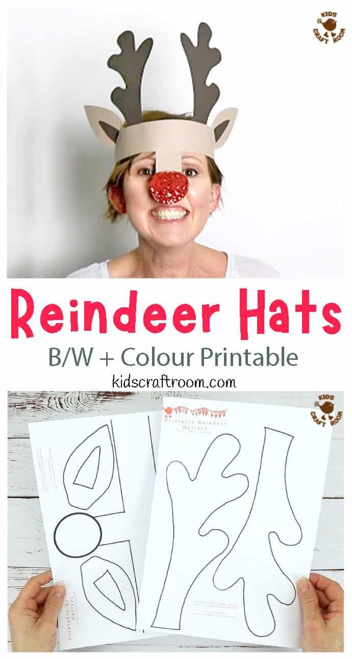 Printable Reindeer Antlers pin 2