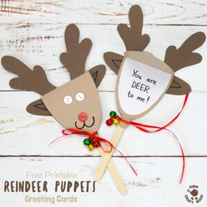 REINDEER PUPPET GREETING CARDS - These Rudolf Puppets are so fun to make and because they double up to be surprise greeting cards they are perfect for sharing some festive cheer to friends and family too. They are Christmas on a stick literally! #Christmas #Christmascrafts #Christmascraftideas #kidscrafts #reindeer #Rudolf #reindeercrafts #rudolfcrafts #puppets #puppetcrafts #chistmaspuppets #greetingcards #Christmascards #kidscraftroom