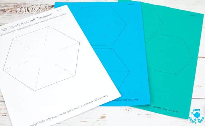 Free Printable Template 3D Snowflakes Kids Craft Room