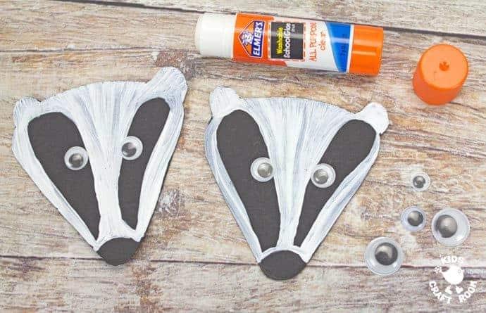 step 4 woodland handprint badger puppets