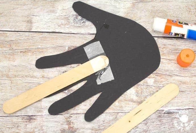 step 5 woodland handprint badger puppets