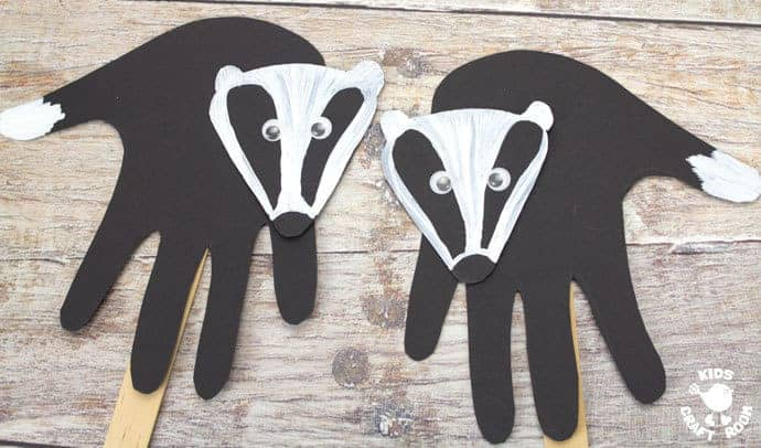 step 6 woodland handprint badger puppets