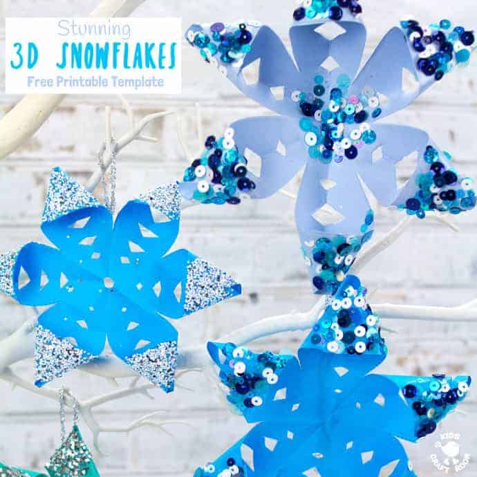 graphic relating to Snowflake Printable named Absolutely free Printable Template 3D Snowflakes - Little ones Craft House