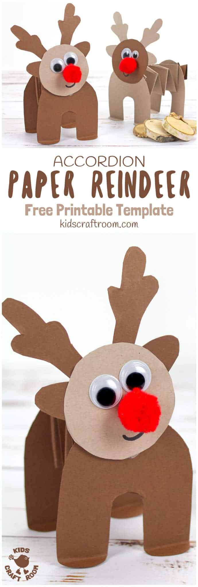 PRINTABLE ACCORDION PAPER REINDEER CRAFT - here's a super fun printable reindeer that kids can play with. This homemade paper reindeer toy has a simple but cleverly folded body that allows it to stand up and be walked along by little hands. The accordion folds work like a spring so the paper reindeer can bounce up and down on their bottoms too! Seriously so much fun and cuteness! This is a free printable reindeer craft. #reindeer #christmas #rudolf #papercrafts #printablecrafts #printables #kidscrafts #christmascrafts #reindeercrafts