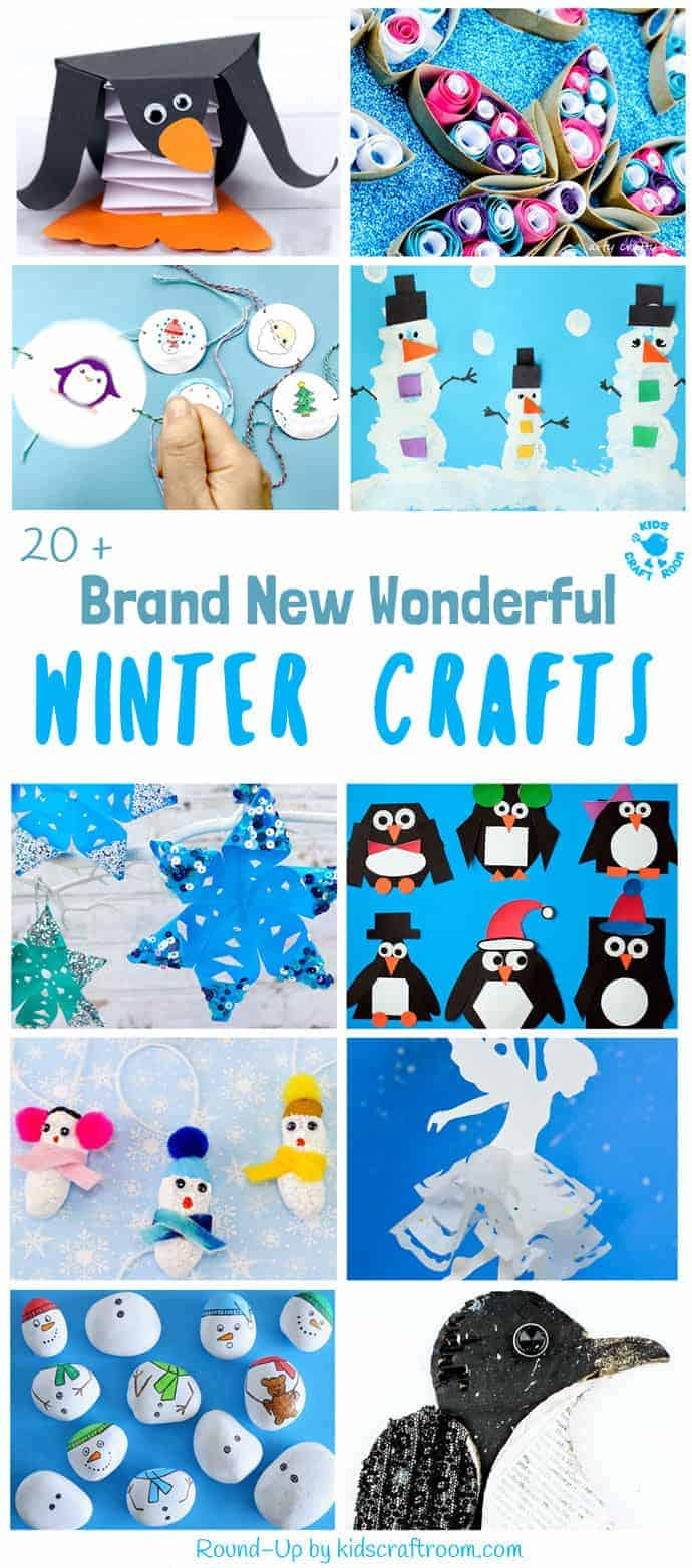 Bored of the same old Winter craft ideas? Here's 20+ BRAND NEW WONDERFUL WINTER CRAFTS not to be missed! Grab the kids for a fun and frosty craft time. #Winter #WinterCrafts #WinterCraftIdeas #WinterCraftsForKids #kidscrafts #WinterIdeas #Winterideasforkids #Winterart #Winterartideas #craftideas #kidscraftroom #seasonalcrafts #penguincrafts #snowflakecrafts #snowmancrafts