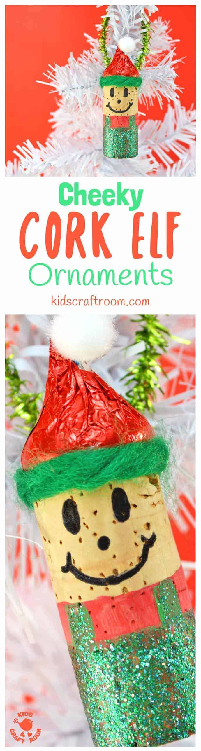 These CHEEKY CORK ELF ORNAMENTS are adorably cute and perfect for hanging on the Christmas tree or embellishing gifts with a hand made touch. Their little red elf hats are edible too which makes them super fun for the kids! Such a fun and easy elf craft for Christmas time! #ornaments #christmas #christmascrafts #kidscrafts #christmasideas #christmasornaments #elf #elfcrafts #corkcrafts #cork #kidscraftideas #kidscraftroom