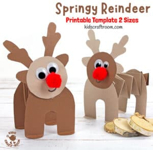 Printable Accordion Paper Reindeer Craft
