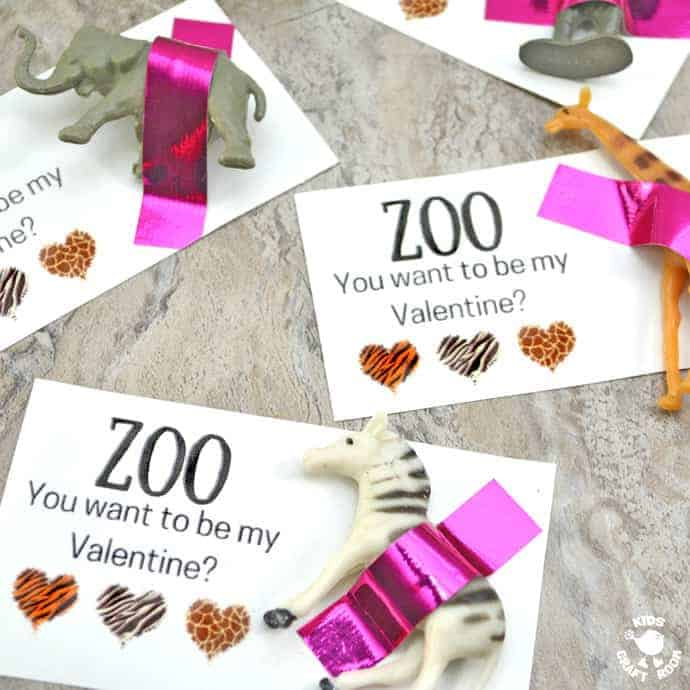 Zoo You Want to be My Valentine? Who could resist these Valentine favors? Printable Wild Animal Valentine Cards are so easy and sweet. Print the free cards and attach a mini animal for a Valentine gift everyone will love. A great Valentine idea for friends and loved ones big and small! #valentine #valentinesday #valentinesdaycrafts #valentinecraft #valentinescrafts #valentinecrafts #valentinesdayforkids #heartcrafts #valentinecards #freeprintables #printablecrafts #kidscrafts