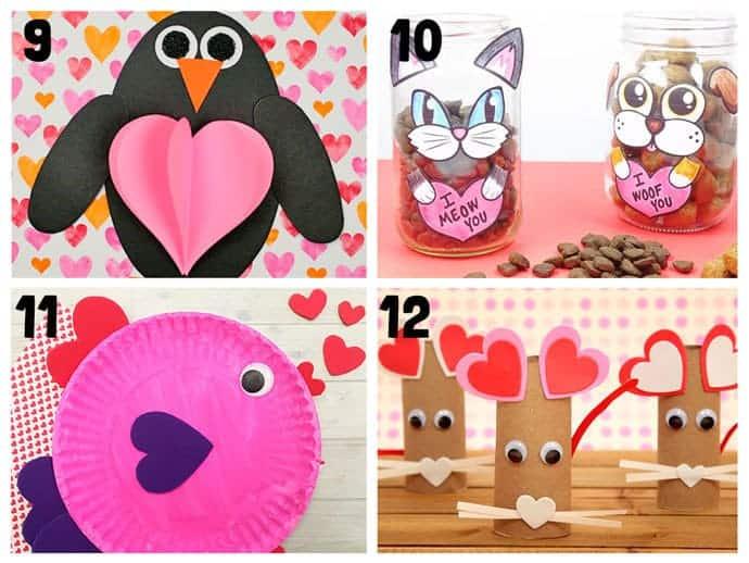 valentine animal crafts  Valentines Day  Animal Lovers
