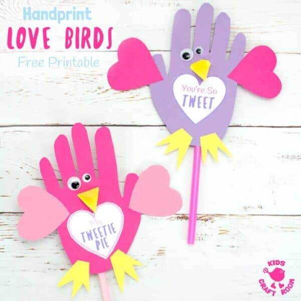 HANDPRINT LOVE BIRDS with Free Printable Template. Use them as puppets or greeting cards these Handprint Love Birds are the sweetest, or should I say tweetest little bird craft around and just perfect for Valentine's Day or Mother's Day. Too tweet for words! #handprintcrafts #valentine #valentines #valentinesday #valentinecrafts #valentinescrafts #birds #lovebirds #kidscrafts #valentinesforkids #kidscrafts101