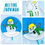 This Paper Plate Melting Snowman Craft tops the bill with adorability. If you've got kids that love to build a snowman then this is the Winter craft for them! Use our free printable template to make a snowman puppet that can melt to the ground and then pop back up ready to start the fun and games all over again! #snowman #snowmancrafts #paperplate #paperplatecrafts #kidscrafts #wintercrafts #puppets #puppetcrafts #kidscraftroom #craftsforkids #kidscrafts101 #printables