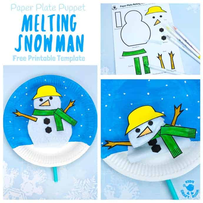 Paper Plate Melting Snowman Craft