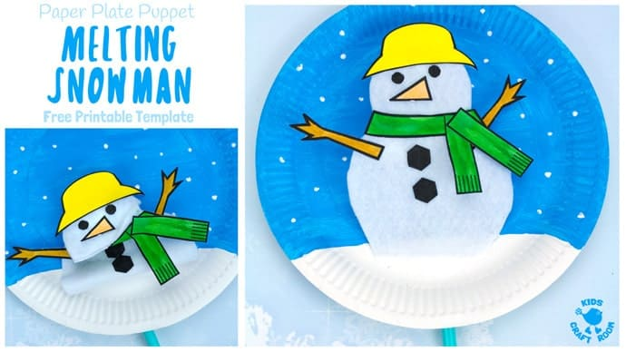 Paper Plate Melting Snowman Craft Landscape Kids Craft Room