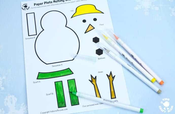 Free Printable Paper Plate Melting Snowman Template Kids Craft Room
