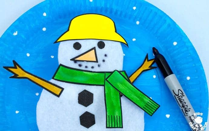 This Paper Plate Melting Snowman Craft tops the bill with adorability. If you've got kids that love to build a snowman then this is the Winter craft for them! Use our free printable template to make a snowman puppet that can melt to the ground and then pop back up ready to start the fun and games all over again! #snowman #snowmancrafts #paperplate #paperplatecrafts #kidscrafts #wintercrafts #puppets #puppetcrafts #kidscraftroom #craftsforkids #kidscrafts101 #kidscraftideas #wintercraftideas #preschoolcrafts #printables #printablecrafts #freeprintables