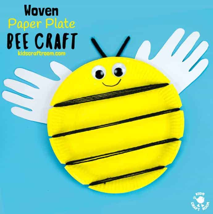 "This Woven Paper Plate Bee Craft has cute handprint wings making it a gorgeous keepsake and because it's woven it's a great insect craft to build fine motor skills too. Its wide yellow stripes leave plenty of room to write personalised messages like ""BEE MINE"" for Valentine's Day or ""BEE HAPPY"" for a birthday! Such fun! #bee #beecrafts #paperplatecrafts #handprintcrafts #valentinesdaycrafts #valentinesforkids #valentinecrafts #insectcrafts #finemotorskills #kidscrafts101"