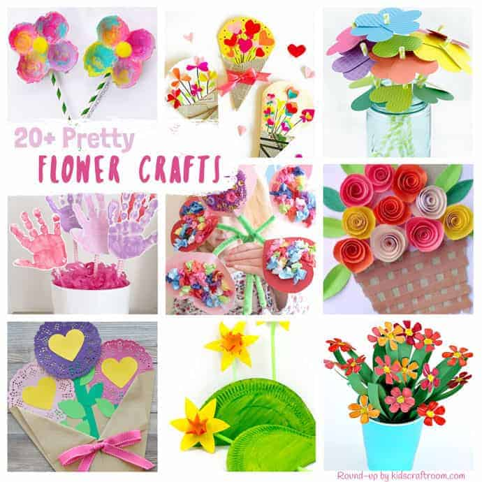 20+ PRETTY FLOWER CRAFTS FOR KIDS - all of them are truly gorgeous! Flower crafts are a fabulously fun way to get creative with the kids in Spring and Summer and they make gorgeous gifts and greeting cards for special occasions too like Mother's Day, Valentine's Day and birthdays. #kidscraftroom #flowers #flowercrafts #diyflowers #homemadeflowers #kidscrafts #craftsforkids #mothersday #mothersdaycraft #mothersdaygift #valentinesday #valentinecrafts #summercrafts #springcrafts #preschoolcraft