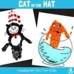 CAT IN THE HAT HANDPRINT CRAFTS - Are you a Cat In The Hat fan? These Dr Seuss handprint crafts are super fun! Print them on a canvas for the wall or add a popsicle stick to turn them into puppets! Great for World Book Day and Dr Seuss' birthday celebrations. #WorldBookDay #DrSeuss #CatInTheHat #KidsCrafts #handprintcrafts #handprintart #bookcrafts #kidsliterature #KidsArt #craftsforkids #thecatinthehat #kidsbooks #bookart #bookcrafts #kidscraftroom #handprint #painting