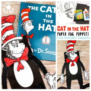 PAPER BAG CAT IN THE HAT PUPPETS look amazing and are super simple to make with our free printable. It's a great craft to go with story time and a fun way to encourage kids to retell familiar and made up tales. If you've got a little Dr Seuss fan then this Cat In The Hat craft is not to be missed!