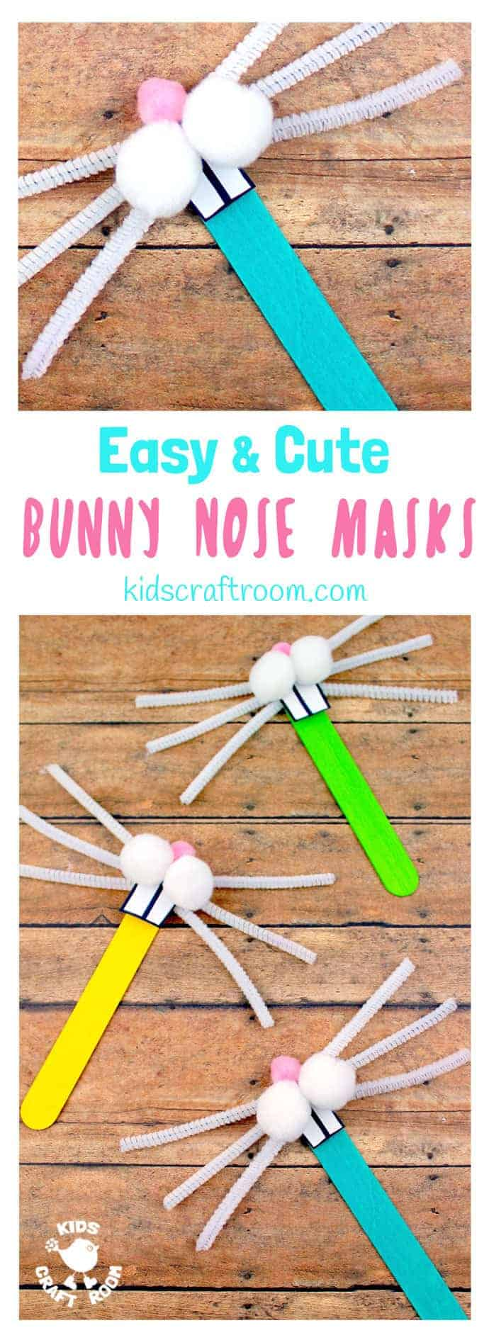Totally cute and easy Bunny Nose Masks - so fun for Easter imaginative play. You and the kids can make these rabbit masks in minutes and they're super fun for popping into Easter baskets and sharing with friends. #Easter #EasterCrafts #Rabbit #bunny #EasterBunny #rabbitmasks #eastermasks #bunnymasks #masks #popsiclestickcrafts #springcrafts #kidscrafts #craftsforkids #kidscraftroom