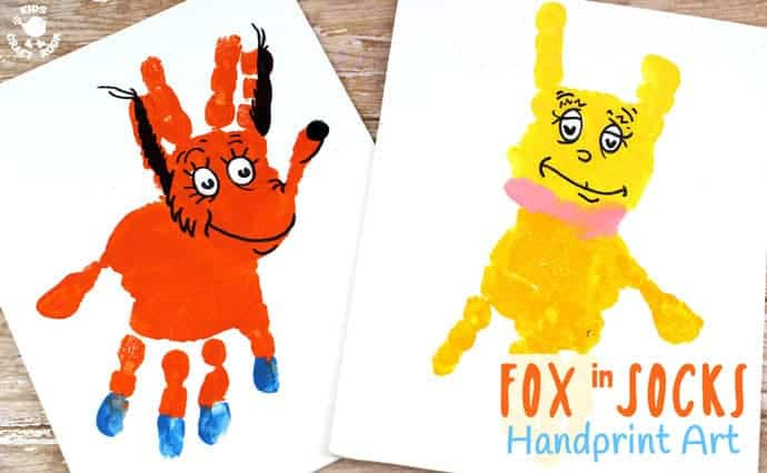FOX IN SOCKS HANDPRINT CRAFT - Decorate your bedroom, classroom or reading nook with this super fun handprint art. Make the terrific tongue twister master, Fox In Socks and the tongue tied Knox! Both are easy to make and adorable. A great way to celebrate World Book Day and Dr Seuss' birthday. #handprintcrafts #drseuss #worldbookday #bookweek #FoxInSocks #Knox #bookcrafts #kidscrafts #craftsforkids #kidsliterature #kidscraft #kidsbooks #handprint #paintingideas #preschool