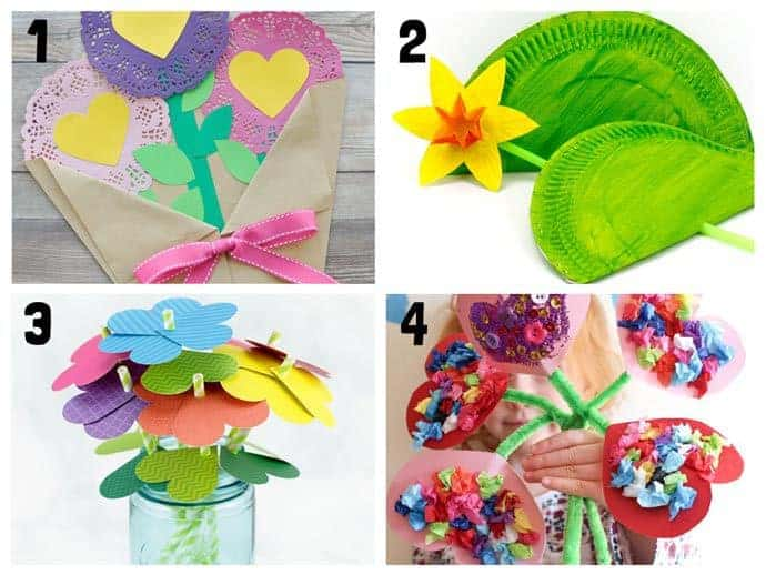Pretty flower crafts for kids 1-4