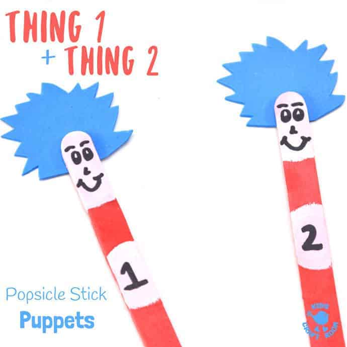 "THING 1 and THING 2 POPSICLE STICK PUPPETS are super simple to make and great fun for all Dr Seuss ""The Cat In The Hat"" fans, big and small! Use them to bring the story to life as you read with your kids or to inspire their imaginative play. These popsicle stick puppets are super fun! #DrSeuss #CatintheHat #kidscrafts #Thing1andThing2 #puppets #popsiclesticks #popsiclestickpuppets #craftsticks #craftstickpuppets #bookcrafts #thecatinthehat #worldbookday #reading #craftsforkids #kidscraftroom"